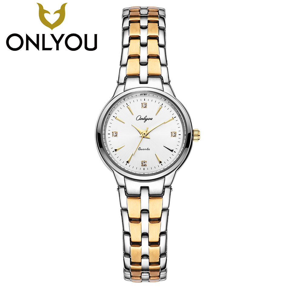 ONLYOU Top Fashion Women Watches Luxury Diamond Couple Lover Wristwatch Gift Ladies Gold Sipmple Quartz Clock Men Business Watch onlyou bracelet women watches stainless steel ladies diamond waterproof fashion ladies watch gfit lover quartz watch man clock
