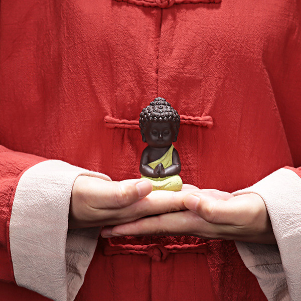 Ceramic Little Monk Figurine Home Decor Buddha Statue Figures Ornament For Car Living Room Teahouse Store