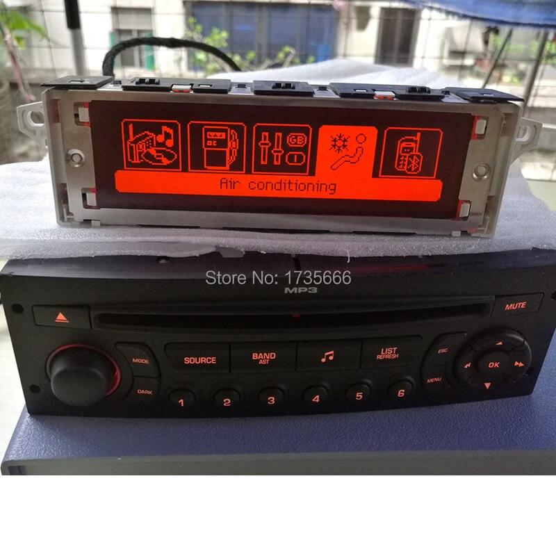 Écran support USB et Bluetooth Affichage rouge moniteur radio LCD Multi fonction 12 broches pour Peugeot 307 407 408 citroen C4 C5