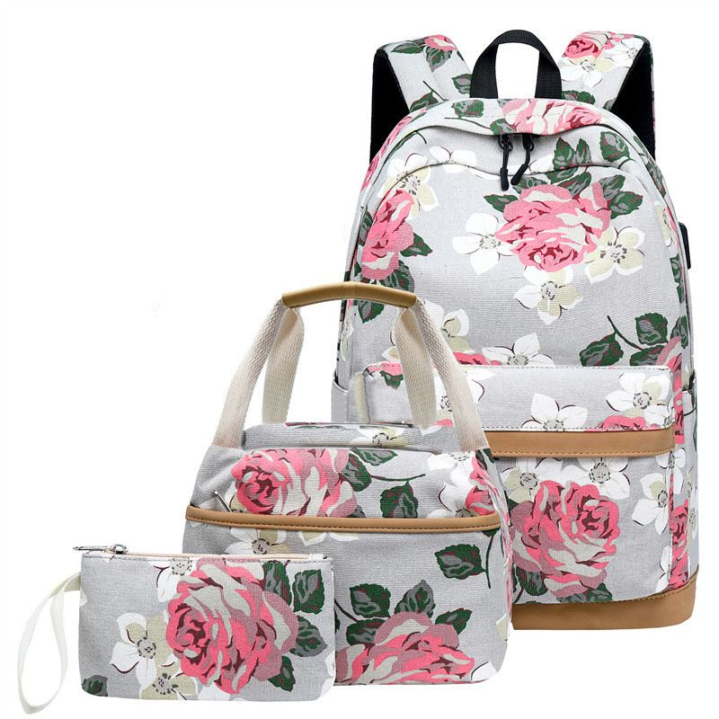 3 Pcs School Backpacks For Teen Girls School Bags Lightweight Kids Bags Children Travel Floral Canvas Backpack Bookbags Set