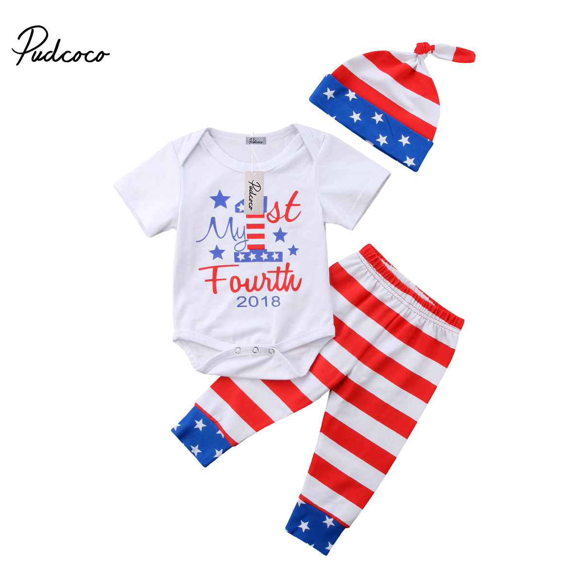 Summer Newborn Baby Boy Girl Clothes 4th of July Jumpsuit Romper Tops Striped Long Pants Hat Outfit Set 3pcs