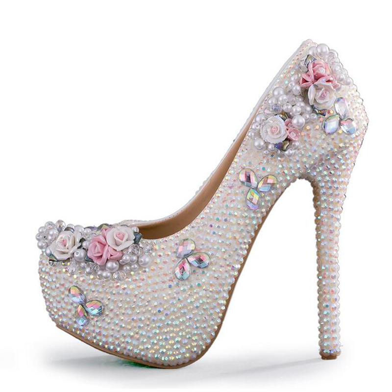 AB Crystal Color Wedding Shoes White Rhinestone Bridal Pumps Princess Luxurious Formal Dress Shoes Prom Party Shoes Plus Size