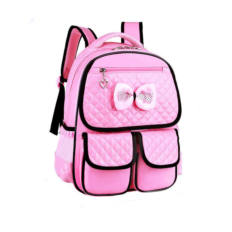 100pcs/lot 7-10 Years New Lovely Bow Tie Schoolbag Kindergarten Primary Student Bag Children Backpack For Girls Kids School Bags