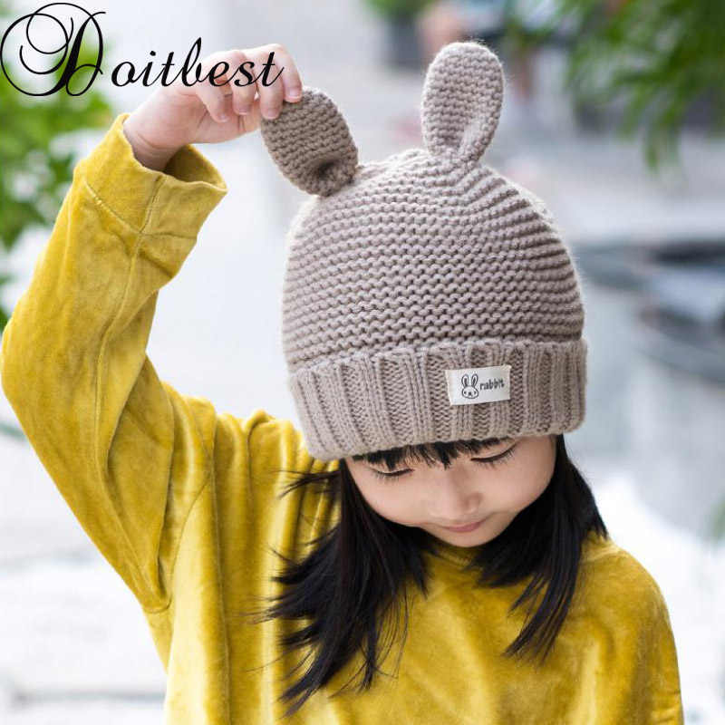 ... Doitbest 3 a 10 años de viejo conejo dos orejas chicas sombrero sólido  de terciopelo de invierno Niño niño sombrero de lana niños chica orejeras  gorras ... f3797574aa8