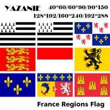 YAZANIE çift taraflı fransız Brittany Picardy üst normandiya Alsace Nord Pas de Calais Ile de France bölgeye ihracat bayrakları ve pankartlar