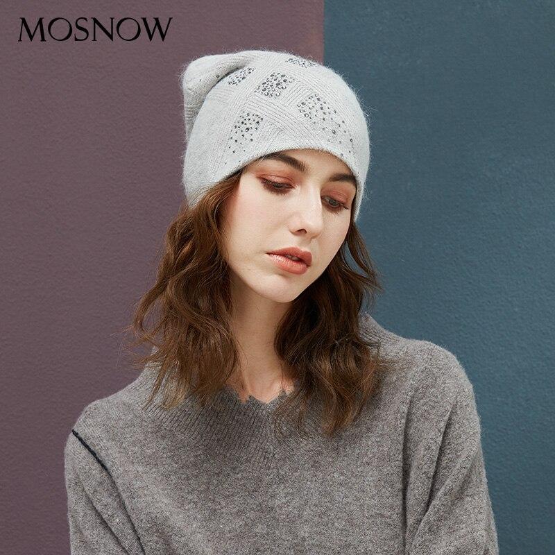 Women's Winter Hats With Rhinestones Beanie 2019 New Brand Warm Knitted Hat Female Angora Rabbit Thick Autumn Beanies 8 Colors