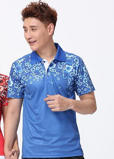 Футболка для настольного тенниса/бадминтона, футболка для бадминтона, ТЕННИСНАЯ СПОРТИВНАЯ ОДЕЖДА Джерси, быстросохнущие дышащие футболки для команды пинг-понга - Цвет: men blue shirt