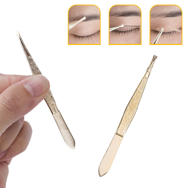 Gold Plated Stainless steel Beauty Eyebrow Tweezers Flat Mouth Refers to Thread Eyebrow Clip Faical HairTrimming