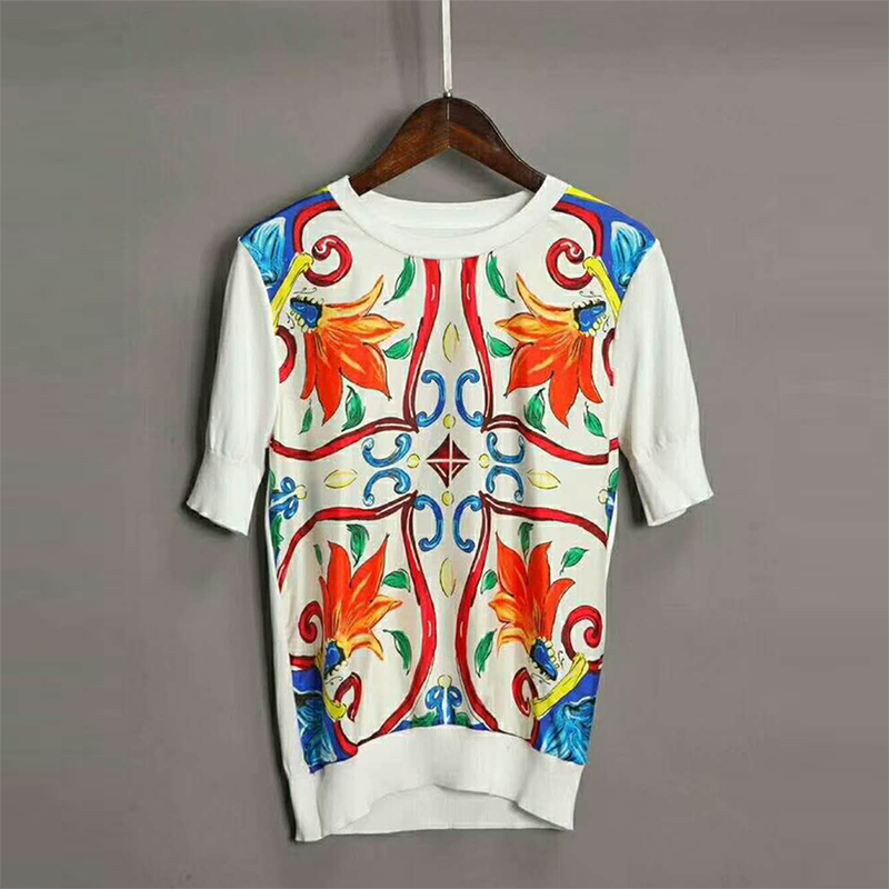 2018 New Print Vintage Knitted Sweaters For Women Fashion Short Sleeve O neck Slim Patchwork Female