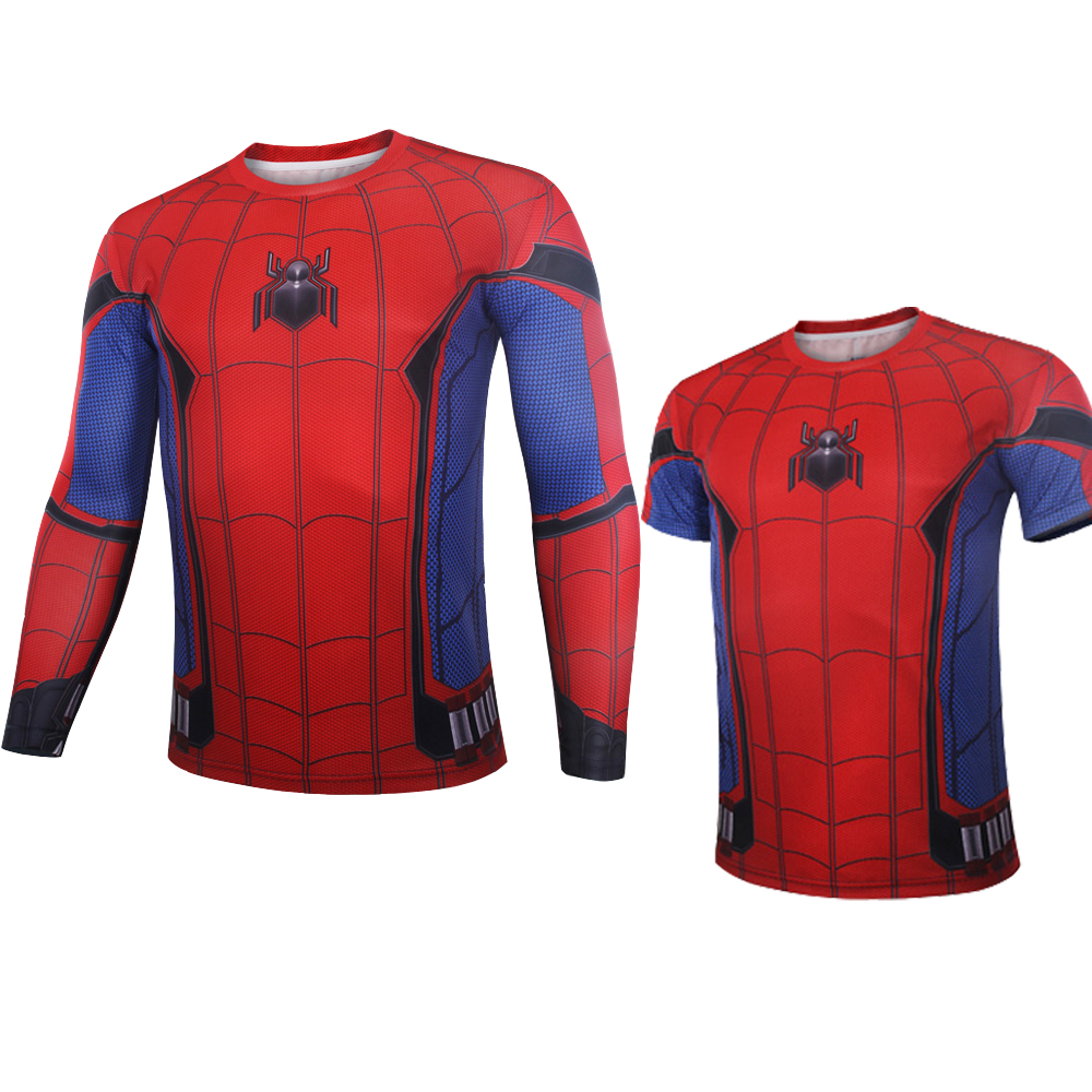 2017 Spider-Man Homecoming Peter Parker T Shirt Cosplay Costume Superhero Spiderman Tom Holland 3D print Tee Shirt Slim Fit Tops