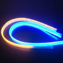 2x на очень тонком каблуке DRL гибкий Светодиодные ленты Габаритные огни мягкое сиденье автомобиля задний фонарь сигнала поворота Стоп-сигна...