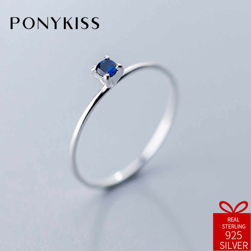 PONYKISS Trendy 100% 925 Sterling Silver Simple Blue Zircon Resizable Opening Geometric Ring Women Party Delicate Accessory Gift