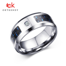 Oktrendy men stainless steel wedding ring band silver color blue carbon fiber cubic zirconia with CZ charms rings for women