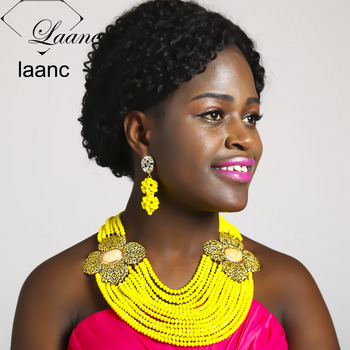 Laanc Nigerian Wedding African Beads Jewelry Set Crystal Yellow Opaque Necklace Earrings for Women NAL464