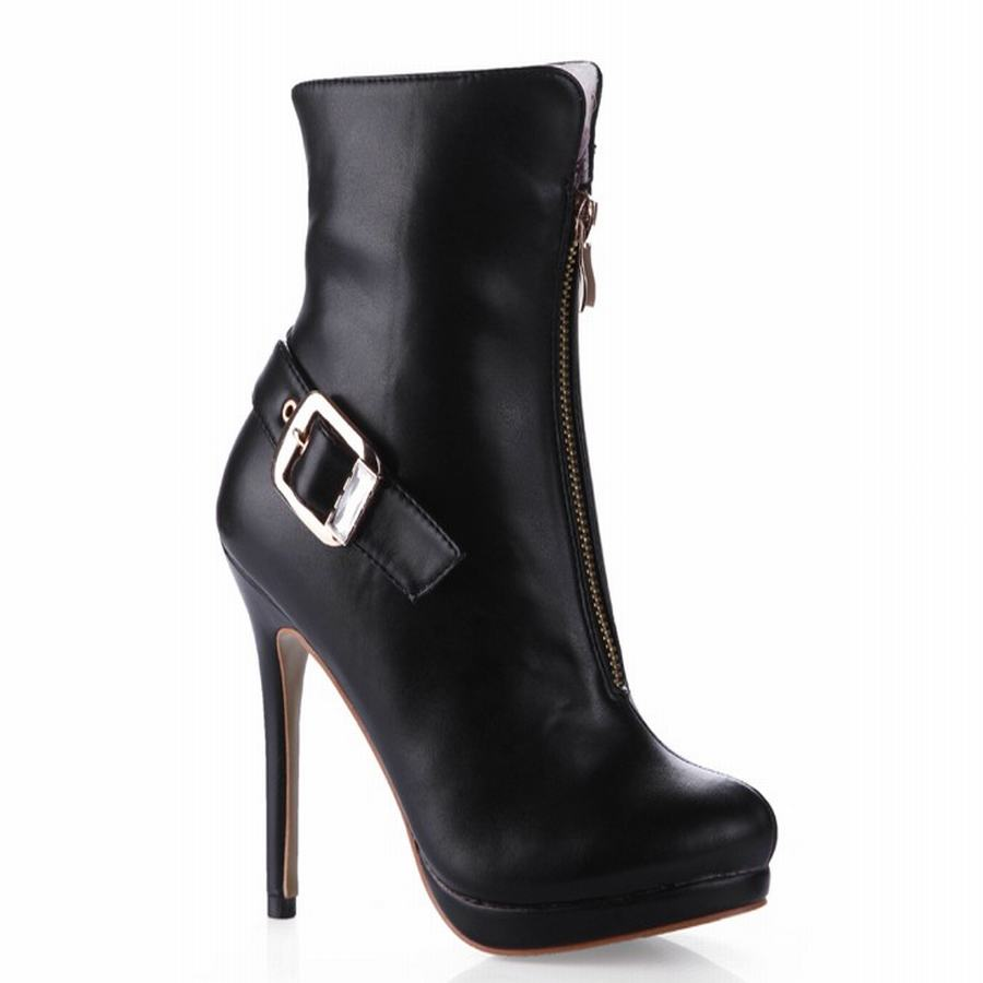ФОТО 2017 women ankle boots front zipper belt buckle decoration fashion riding boots high heels platform party wedding shoes booties