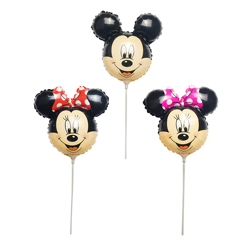 KUAWANLE 100pcs lot Mickey Holding Stick Balloon Party Supplies Cartoon Minnie Mouse Foil Air Balloons Party