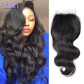 Lace closure onda del cuerpo libre/medio/3 parte peruano de la virgen body wave light brown lace closure onda del cuerpo humano peruano pelo