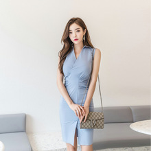 Plus Size Solid Sleeveless Sheath Bodycon Wrap Midi Dress OL Office Work Ladies Dresses Women Blue Pleated Casaul Korean