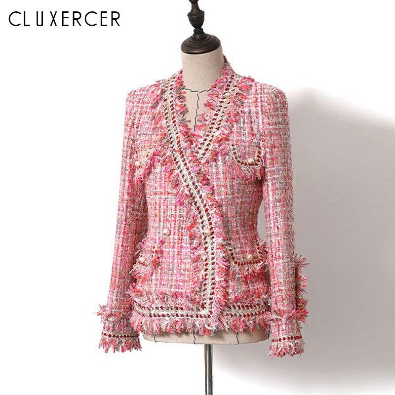 2019 New Women Blazers And Jackets Elegant Rose Red V Neck Office Lady Blazer Femme Fashion Slim Tassel Tweed Blazer Feminina