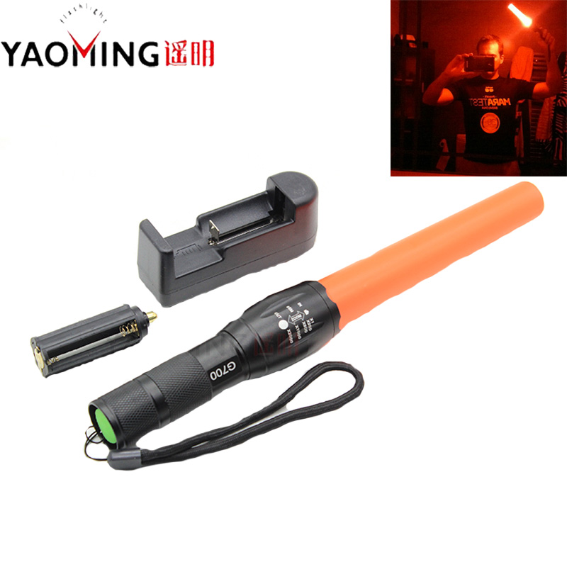 YAOMING Tactical Police Flashlight  T6 LED 800 Lumen Focus Adjustable Traffic Torch Direct Charger Outdoor Emergence Lighting