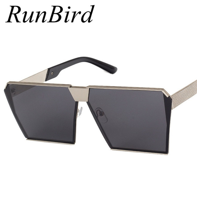 8d364ba80aa Brand Designer Celebrity Metal Men Oversized Sunglasses Fashion Luxury Square  Sunglasses Women Mirror Lens Oculos De