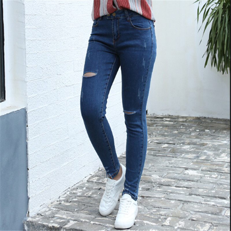 2017 New Fashion Women Jeans Harem Pants Hole Elastic Stretch Slim Denim Pencil Pants Trousers Pantalon Femme Plus Size 5XL rosicil new women jeans low waist stretch ankle length slim pencil pants fashion female jeans plus size jeans femme 2017 tsl049
