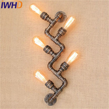 IWHD Loft-stil Jahrgang LED Wandleuchte Industrie Edison Wandleuchte Antike Wasserleitung Wandleuchte Leuchten Innenbeleuchtung