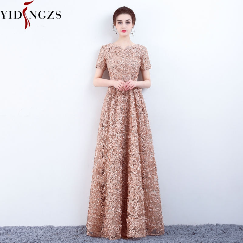 YIDINGZS Elegant Khaki Lace Evening Dress Simple Floor-length Evening Party Dress Formal Gown