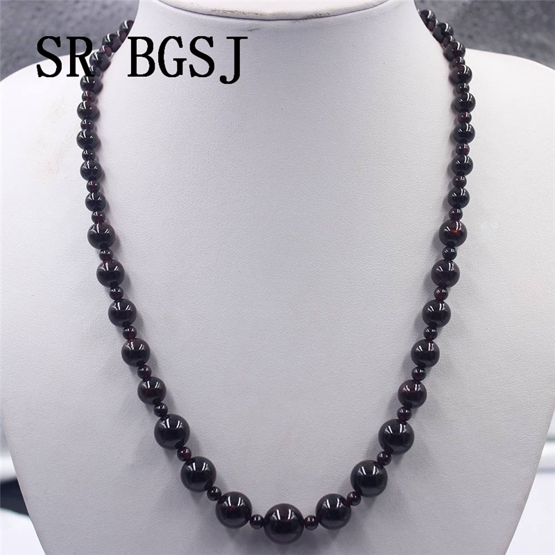 Free Shipping  4-12mm Garnet Red Stone Graduated Natural Gems Genuine Stone Beads Adjustable 2019 Fashion Necklace 18