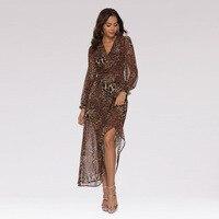 Boho chic beach tunic leopard dress sukienka Women v neck long sleeve high waist leopard print chiffon summer maxi dress frocks