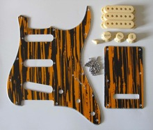 ST Pickguard Kit Black/Yellow Wicker w/ Cream Pickup Covers,Knobs,Switch Tip