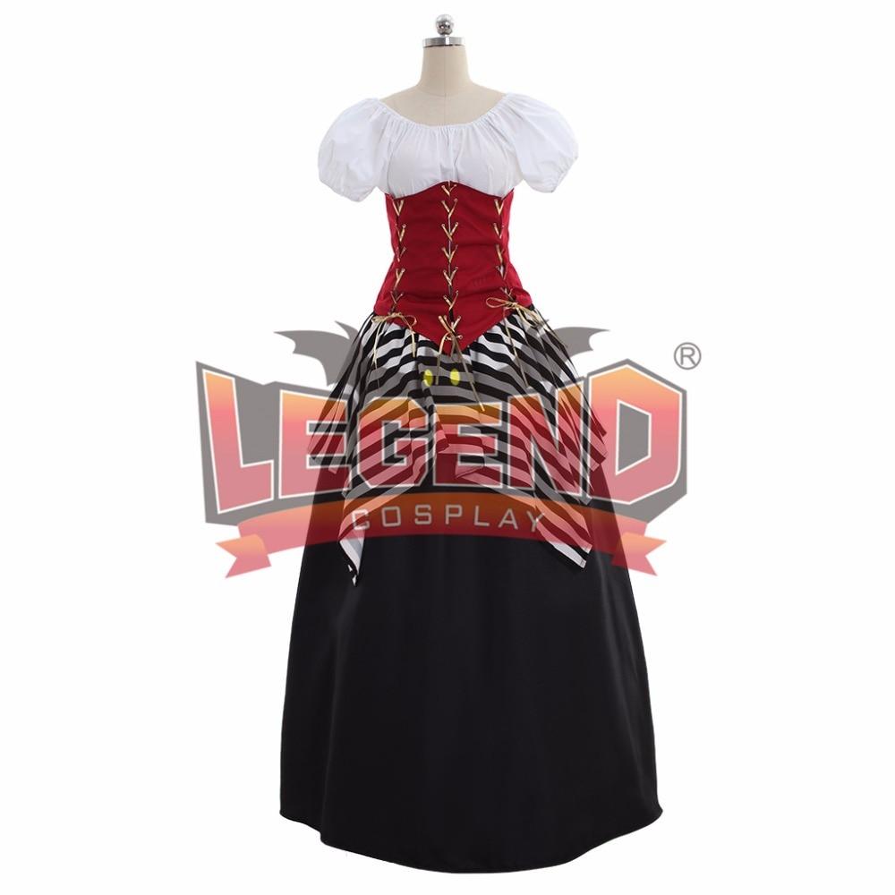 Red Black Medieval Renaissance Victoran Corset Pirate Dress Halloween Costume cosplay costume cosplay v chest pirate costume w turban eyeshade black