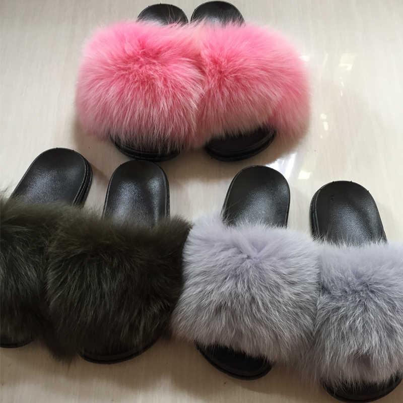 60713cd359de ... Women Fur Slippers Luxury Real Fox Fur Beach Sandal Shoes Fluffy Comfy  Furry Flip Flops ...
