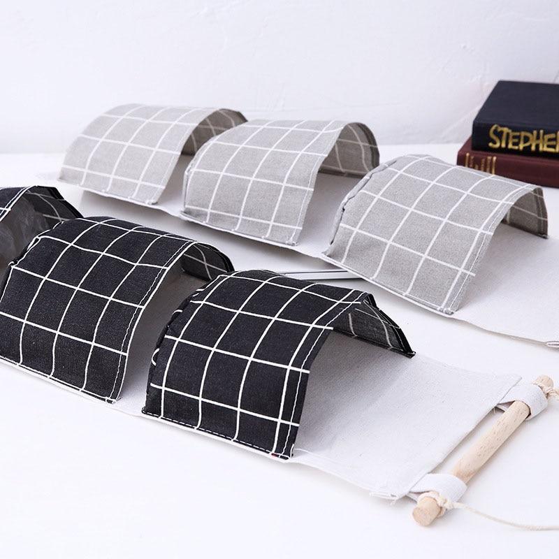 Image 4 - New Organizer Foldable Plaid Hanging Pocket Storage Bag Bonsai Phone Hang Wall Home Dormitory Hanging Organizador 2019 Hot-in Hanging Organizers from Home & Garden