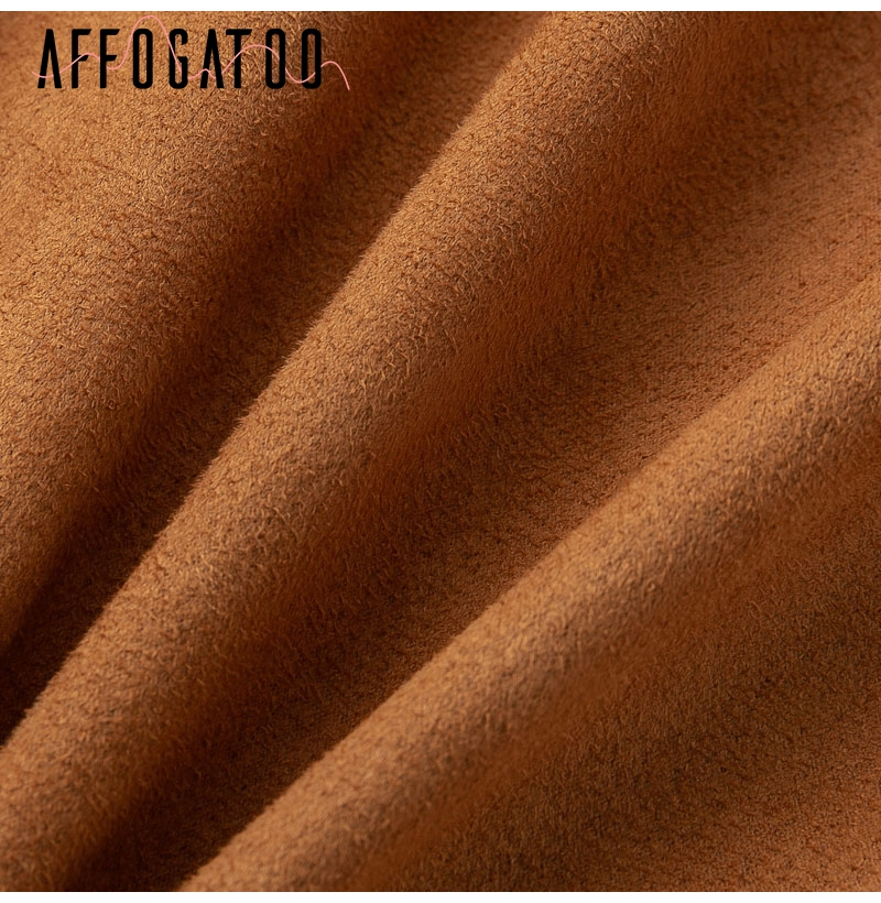 Affogatoo High waist suede leather skirts 18 Autumn winter belt ruched bodycon skirt Women asymmetric short skirts female 16