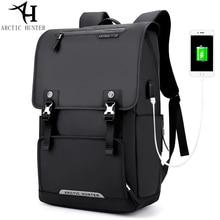 ARCTIC HUNTER USB Charge Port Backpack Large Capacity Laptop Backpack Men Travel Bag Oxford PU Leather