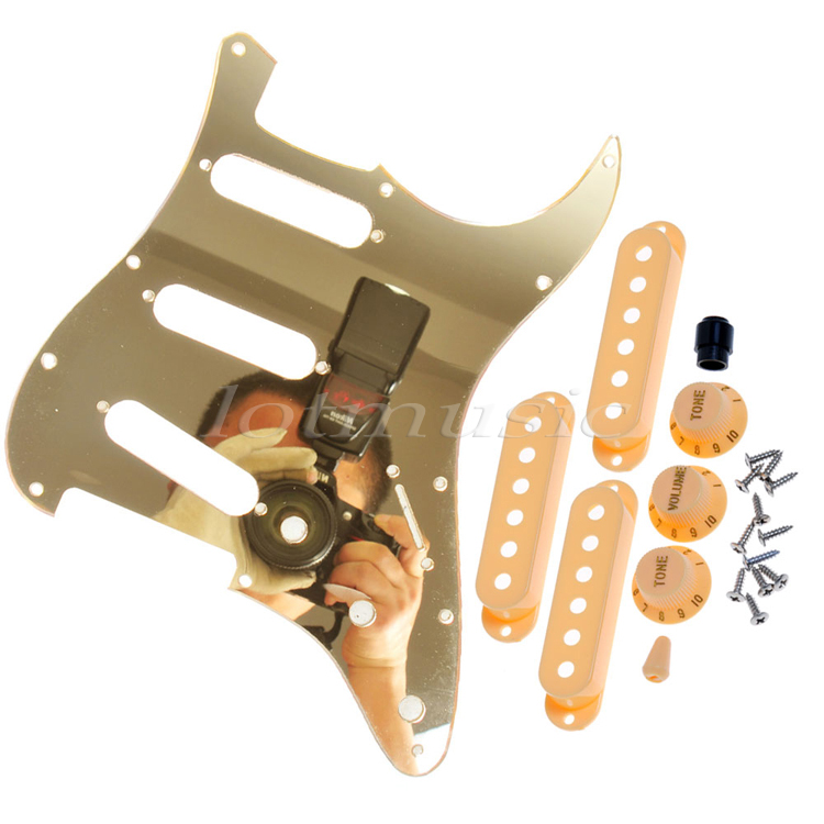 USA Standard Guitar Pickguard Gold Mirror+3 Single Coil Pickup Covers+Knobs+Tip Cap,Screws single coil pickup cover 1 volume 2 tone knobs switch tip for strat guitar replacement ivory 10 set