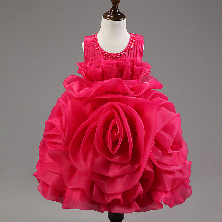 01368225e3 Girls Dress 3D Rose Flowers Tutu Party Princess Dresses Baby Girl Clothes  Wedding Vestido Infanti Children Kids Summer Costumes-in Dresses from  Mother ...