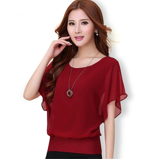 Cheap chiffon blouse, Buy Quality blouse fashion directly from China blouses plus Suppliers: New Womens Tops Fashion Women Summer Chiffon Blouse Plus Size Ruffle Batwing Short Sleeve Casual Shirt Black White Red Blue Enjoy Free Shipping Worldwide! Limited Time Sale Easy Return/5(K).