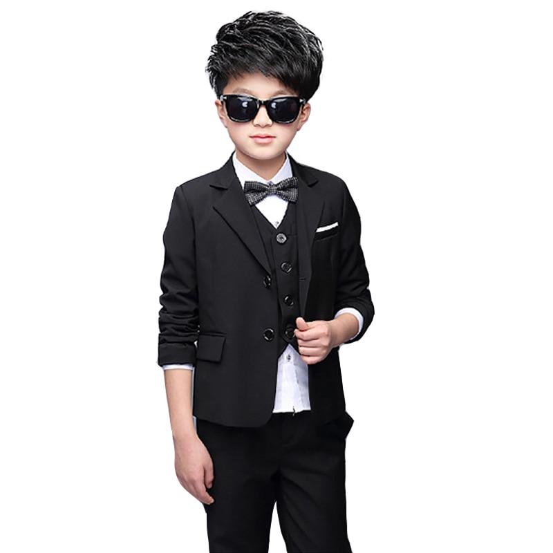 Boys Black Wedding Tuxedo Black Vest Shirt and Pant 4PCS Prom suit ...
