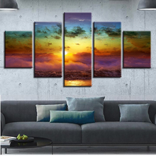 Living Room Wall Home Decor Art Pictures HD Printed 5 Panel Sunrise Ocean Landscape Modern Painting On Canvas Poster Framework