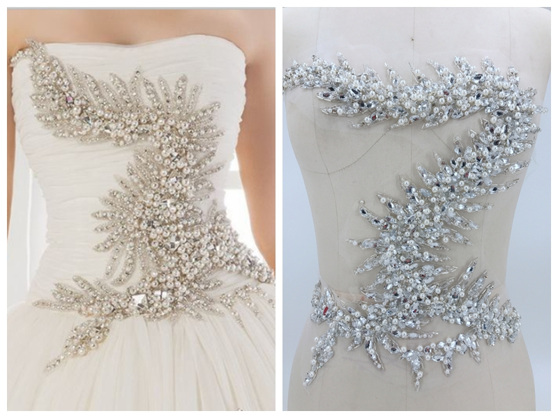 handmade silver white sew on rhinestones pearl applique on mesh crystals trim patches 36*34cm for wedding dress DIY accessories