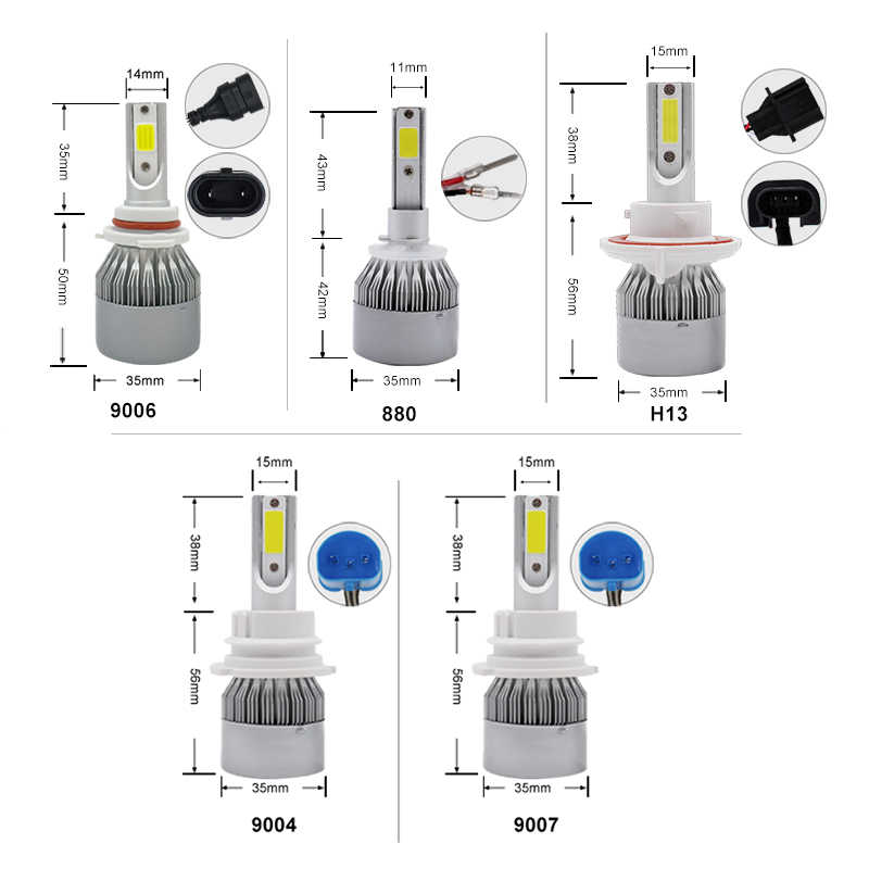 Car 12V C6 H4 LED Bulb H1 H3 H7 H11 H13 880 9005 Hb3 9006 Hb4 Headlight Kit 36W 3800Lm COB Headlamp Auto Fog Light Lamp Bulbs