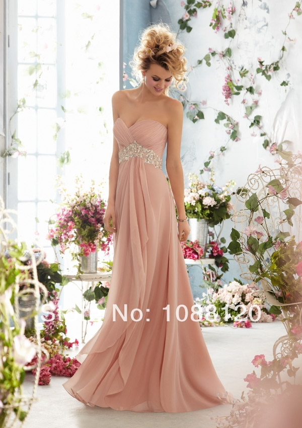Pink Bridal Shower Dress for the Bride Beach Chiffon Beaded Sashes ...