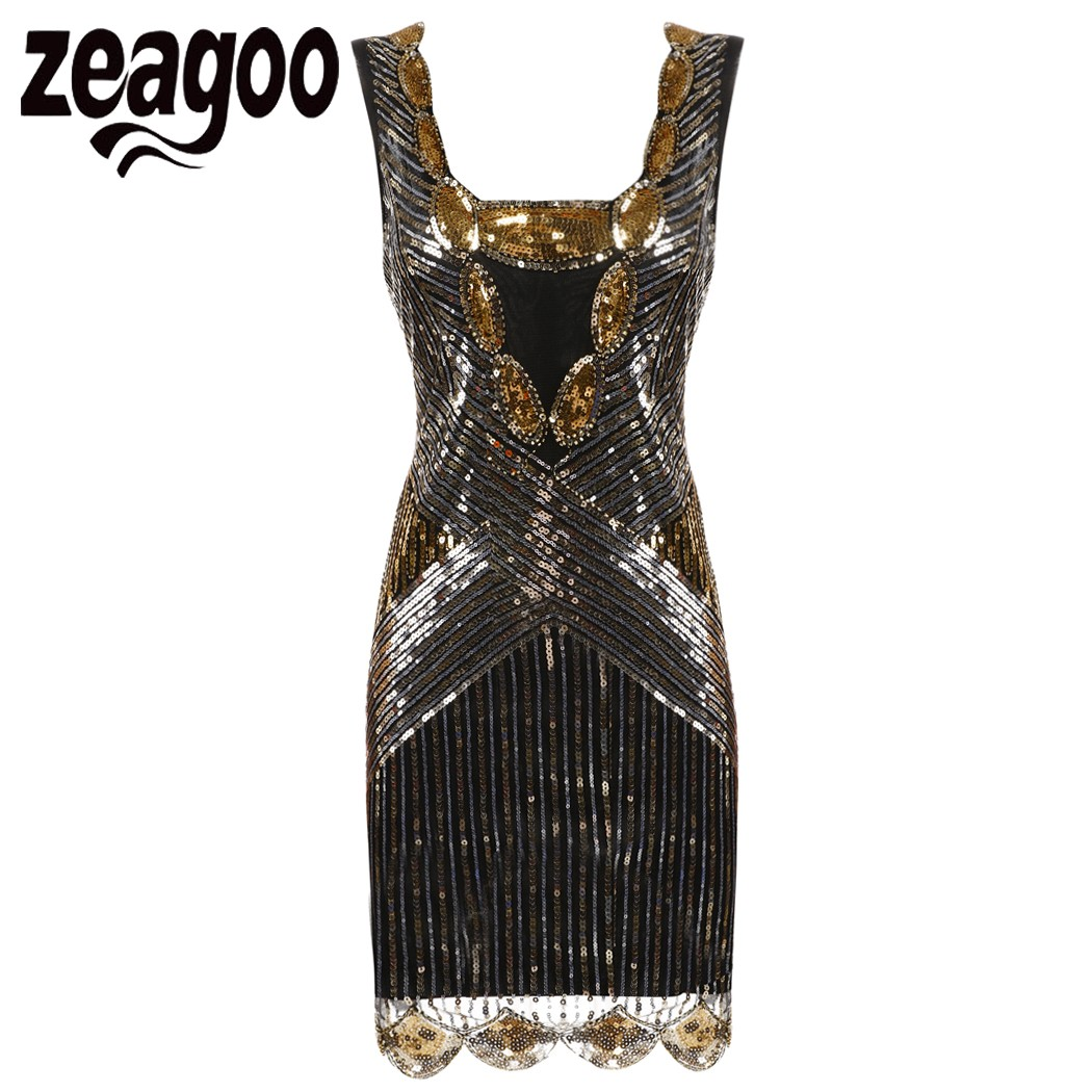 Gold flapper dresses cheap