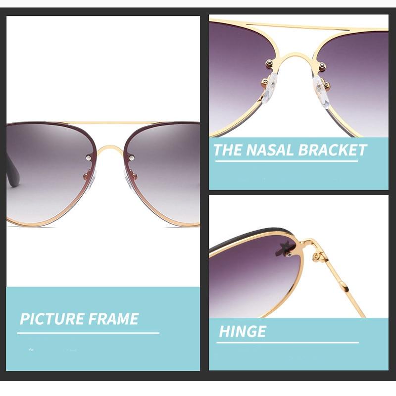 Fashion Aviator Sunglasses Women Luxury Bee Sun Glasses Designer Clear Pilot Shades Oversized Rimless Sunglasss