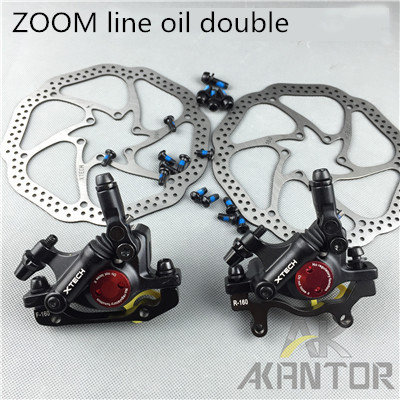 ZOOM MTB Road Line Pulling Hydraulic Disc Brake Calipers Front & Rear juin tech r1 bicycle disc brake caliper mtb line pull hydraulic brake set xc road mountain bike rotors 160 mm front rear disco