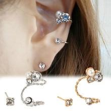 Korean Fashion Personality Ladies Earrings Elegant Pearl Rhinestone Earrings Charm Jewelry For Female Earrings Wholesale