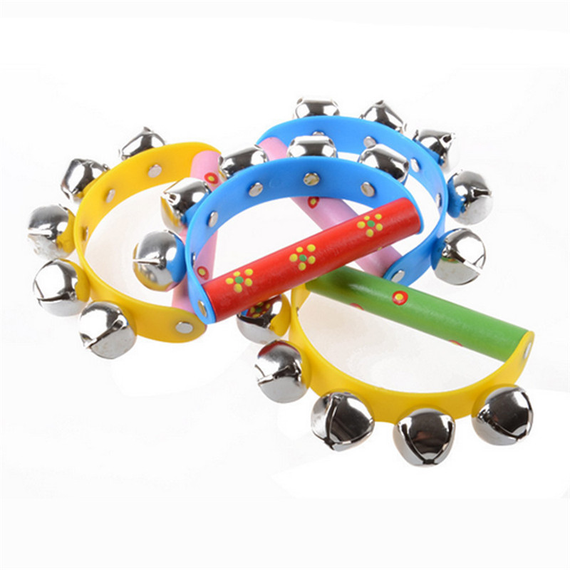 2017 Baby Rainbow Musical Instrument Toy Wooden Jingle Ring Handbell Rattle Dropshipping A