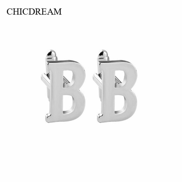 1 Pair A C D Silver Plated Letter Cufflinks Costume Clips Initial Cufflink Male French Shirt Wedding